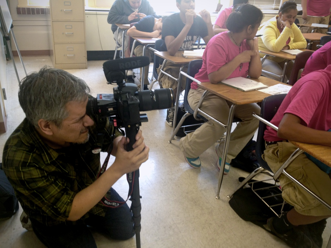 Jim Mendiola films students participating in the Middle School Partners Program at Mark Twain Middle School (SAISD). Courtesy photo.