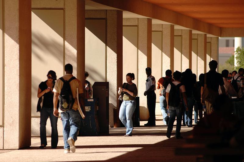 Students between classes at UTSA.