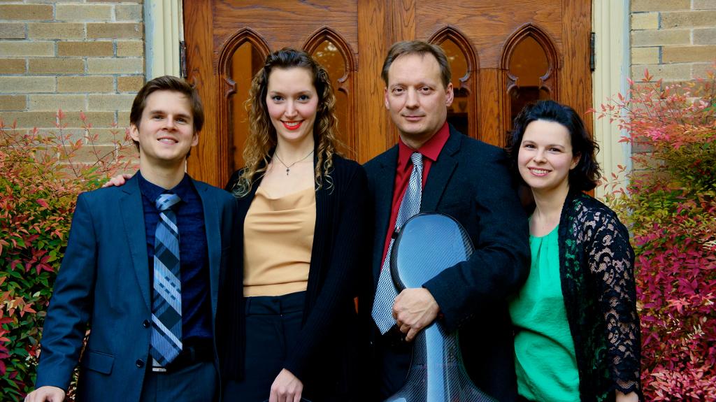 (From left) Matthew Zerweck, Anastasia Storer, Ken Freudigman and Emily Freudigman of Camerata Chamber Ensemble. Courtesy photo.