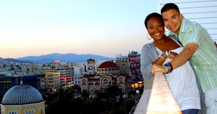 My wife, Chelsea, and I in Piraeus, Greece on our Honeymoon while we were stationed in Germany with the U.S. Air Force.