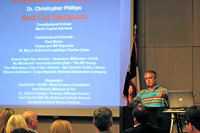 """Christopher Phillips, author and founder of Constitution Café, gives a presentation about the """"café"""" and the importance of discourse in a democracy. Photo by Sarah Hedrick."""
