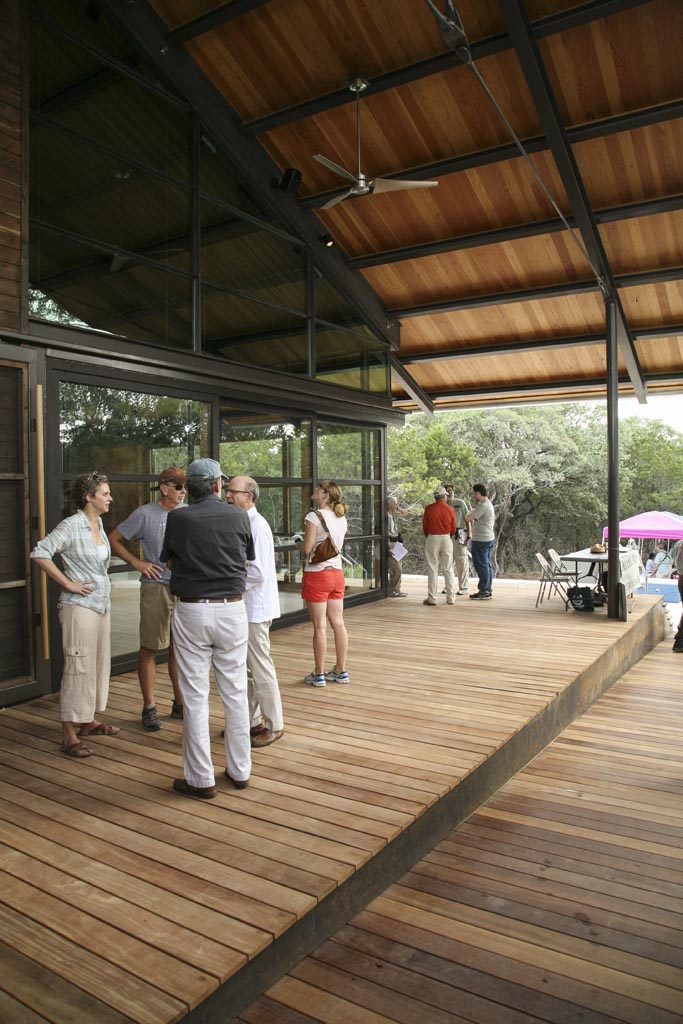 Urban Ecology Center's inviting front porch. Photo courtesy of Lewis McNeel, Lake/Flato Architects.