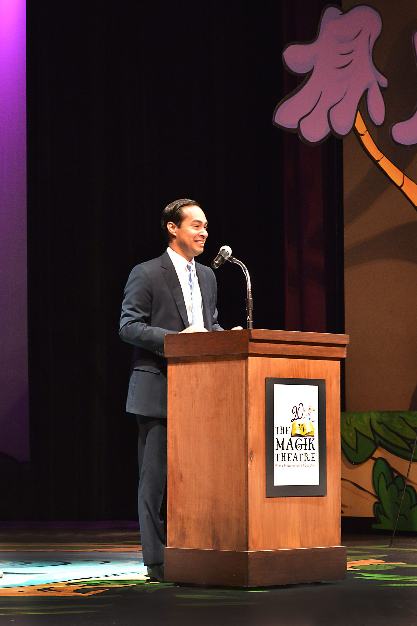 Mayor Julian Castro takes the stage at The Magik Theatre