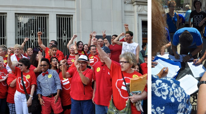 Just after City Council approved the non-discrimination ordinance (8-3), local LGBTQ community members and allies rejoice while the opposition elicits signatures to recall Mayor Julián Castro and all council members that voted in favor of the ordinance. Photos by Iris Dimmick.