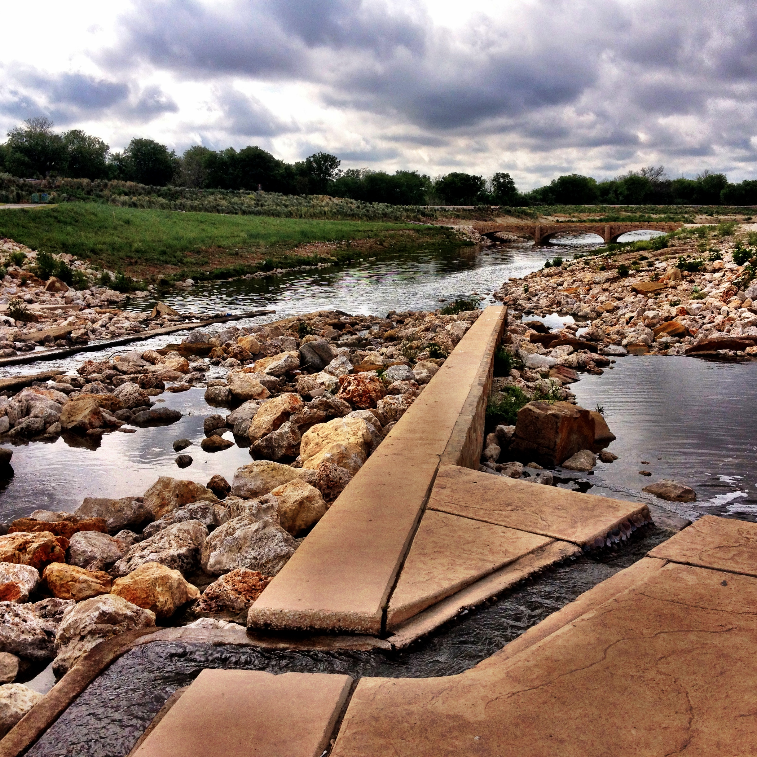 One of the multiple chutes and riffles for paddlers at Mission County Park. Photo by Jeff Reininger.