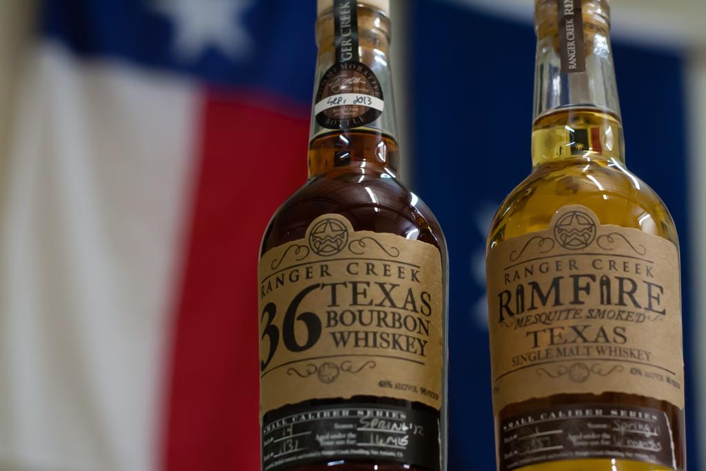 Ranger Creek's .36 Texas Bourbon Whiskey and Rimfire Mesquite Smoked Texas Single Malt Whiskey. Photo by Garrett Heath.