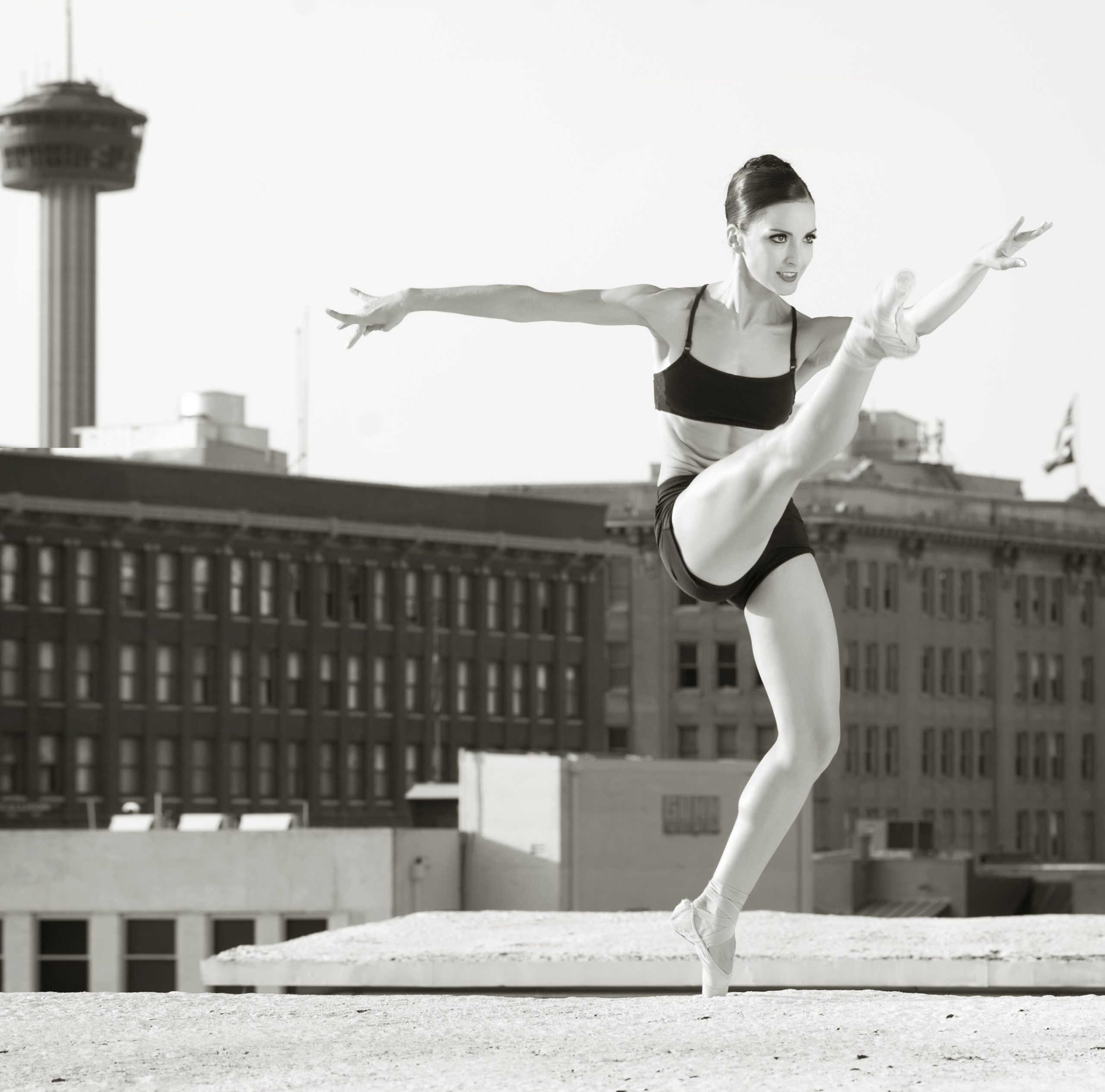 Rania Charalambidou, Corps de Ballet member, on a downtown rooftop. Still Life Photography by Alexander Devora.