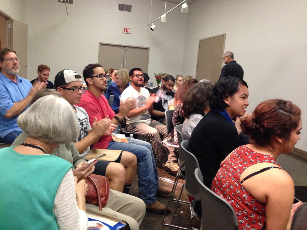 """Audience members had the opportunity to ask questions at the end of the panel discussion, """"How to Be a Working Artist."""" Photo by Taylor Browning."""
