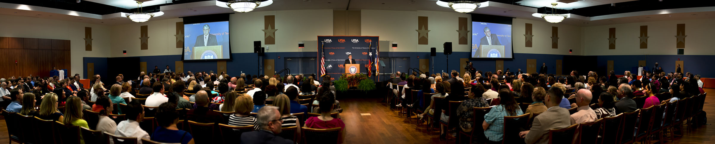 Panoramic view of UTSA's 2013 State of the University Address. Courtesy of UTSA.