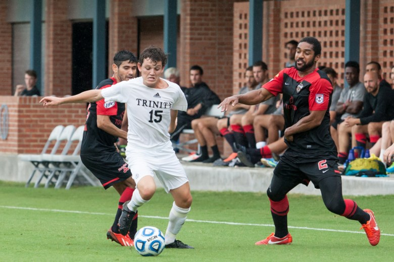 Trinity Tigers' #15, Roberto Camargo from Mexico City, weaves between players during an August match with the San Antonio Scorpions.  Photo by Josh Moczygemba.