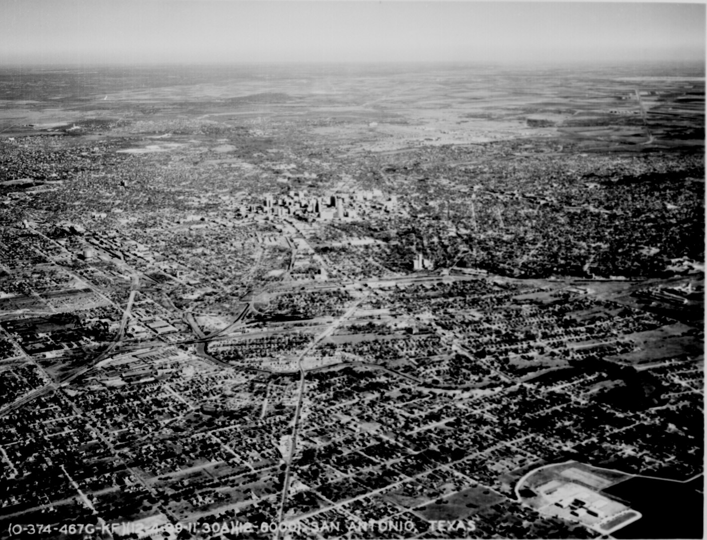 Aerial view of San Antonio. Tex., and the surrounding plains, Dec. 1939. Photo from the National Archives. http://www.archives.gov/research/american-cities/