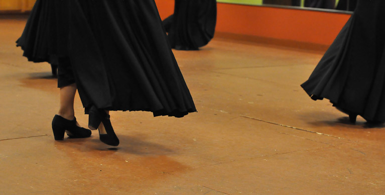 Long, ruffled skirts are an essential part of the attire for flamenco dance. Photos by Annette Crawford.