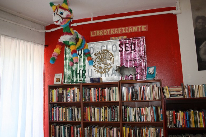 The local branch of the Libriotraficante Underground Library. The small collection of books include works from banned and activist authors. Other branches can be found in Houston, Albuquerque, Tucson and Louisville. Photo by Kay Richter.