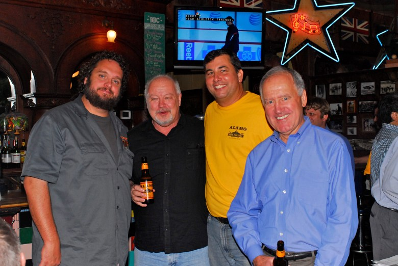 The entire ALAMO Beer Company team: James Huoc, Jim Walker, Eugene Simor, and John Crider. Photo by Miriam Sitz.