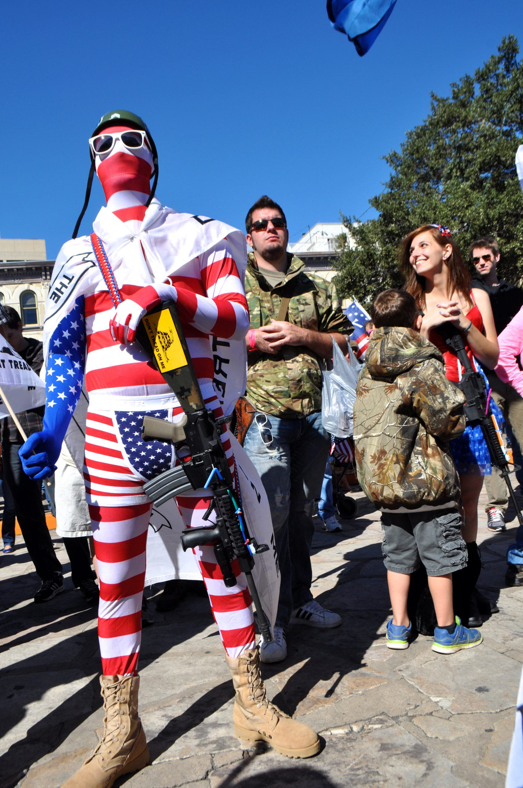 """""""Captain America"""" at the gun rally in Alamo Plaza. Photo by Iris Dimmick."""