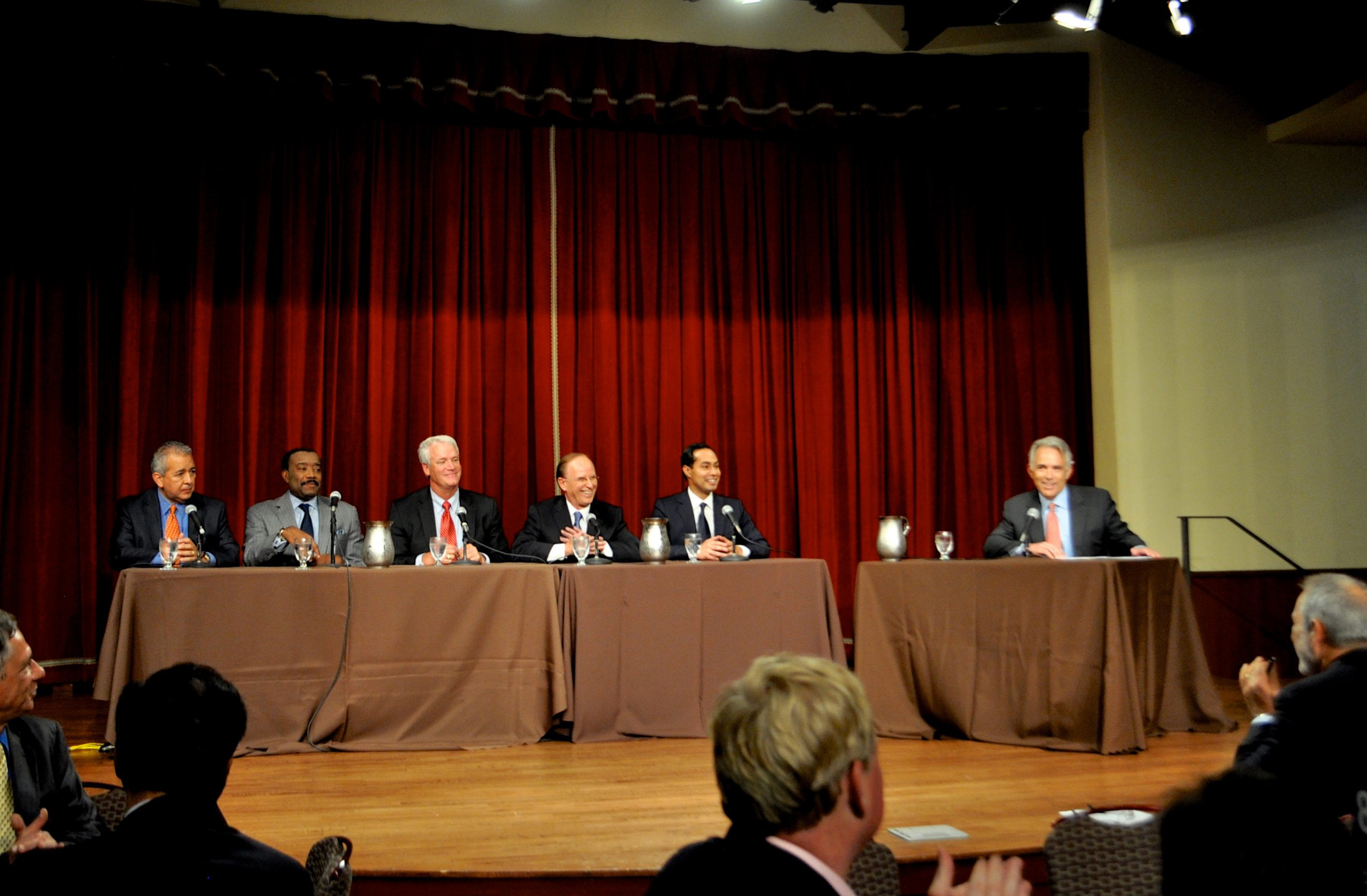 SAWS President and CEO Robert Puente, CPS President and CEO Doyle Beneby, State Rep. Lyle Larson, Bexar County Judge Nelson Wolff, Mayor Julián Castro and moderator Robert Rivard.