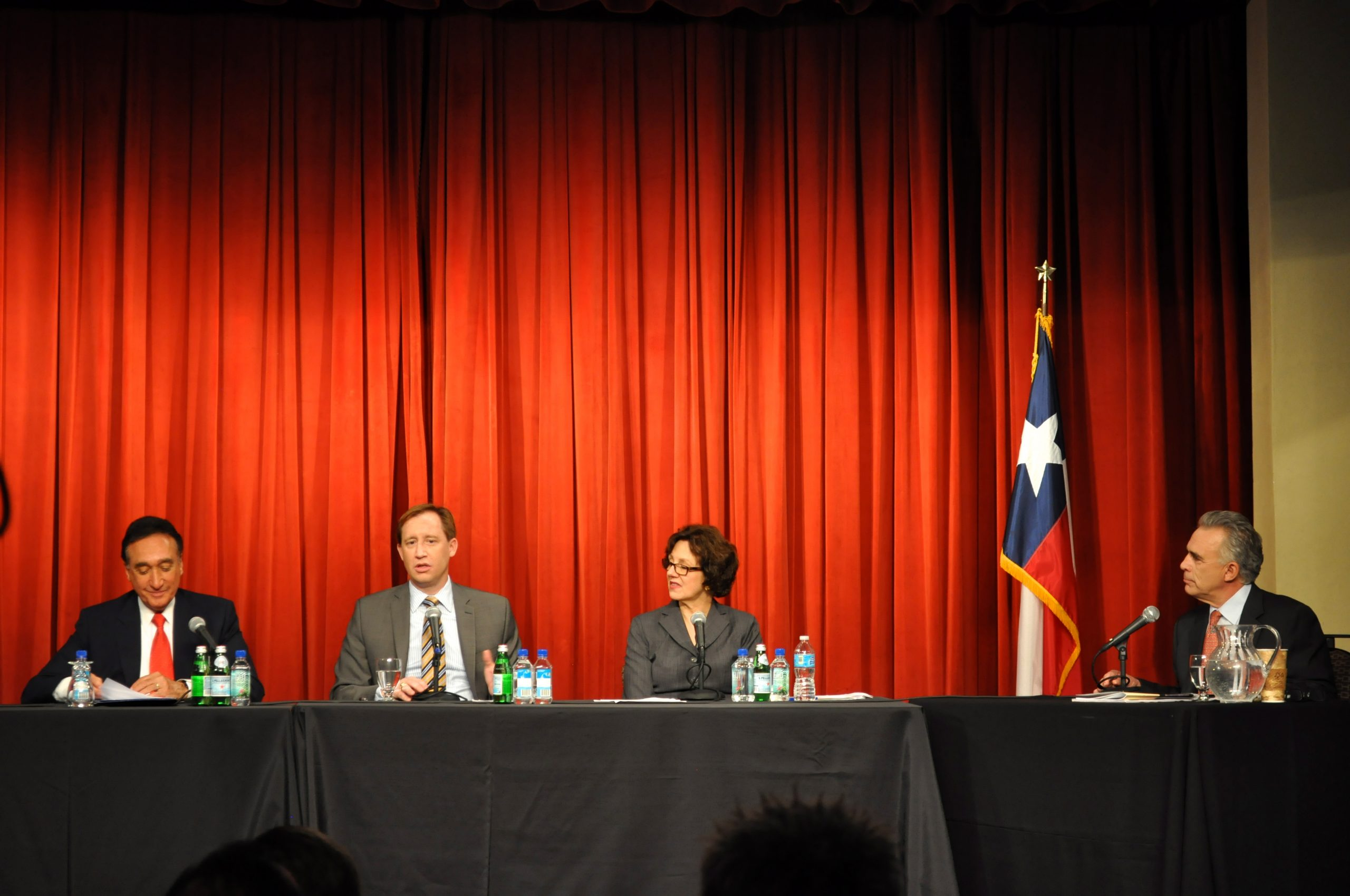 Eagle Ford Shale Forum II: (from left) Henry Cisneros, chairman of the San Antonio Economic Development Foundation; Lance Robinson, vice president of Eagle Ford operations for Marathon Oil Corp; Susan Combs, Texas Comptroller; Robert Rivard, moderator, director of The Rivard Report. Photo by Iris Dimmick.