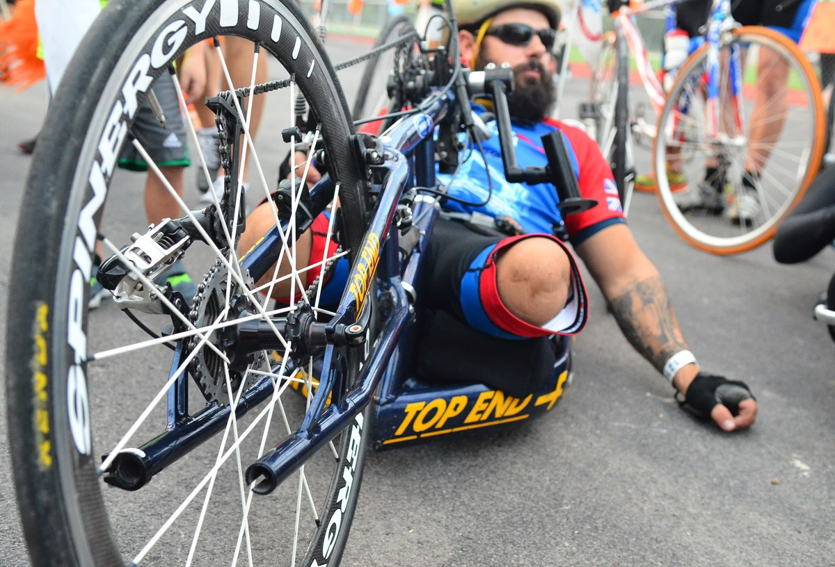 Team America, comprised mainly of wounded warriors and their friends or fellow serviceman, traditionally lead the riders from the start line of the Bike MS: Valero Ride to the River. Photo by David Rangel.