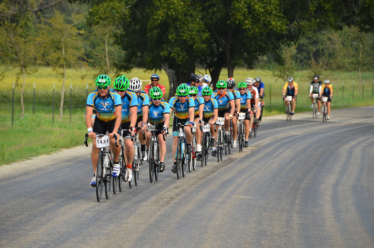 Top fundraisers Team Velo Valero keeping a smooth pace and working together during the 2013 Bike MS: Valero Ride to the River. Photo by David Rangel.