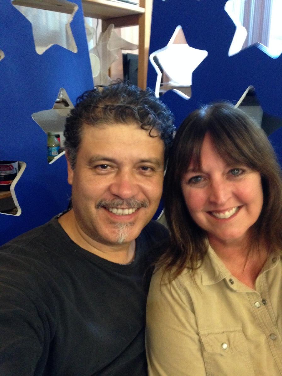 Local artists Luis Valderas and Kim Bishop.