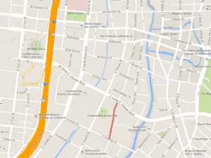 The red line indicates the section of Main Avenue that H-E-B has requested to close in the event of opening a downtown grocery store. Map via GoogleMaps.