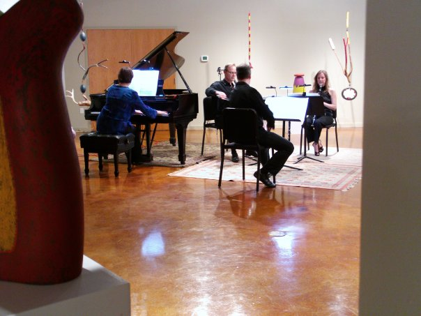 Soli Chamber Ensemble performs at Gallery Nord the music of AJ Kernis alongside the artwork of Danville Chadbourne. From left: Carolyn True, David Mollenauer, Ertan Torgul and Stephanie Key.
