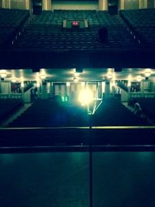 The Nederlander Theatre's ghost light. Photo by Ellie Leeper.