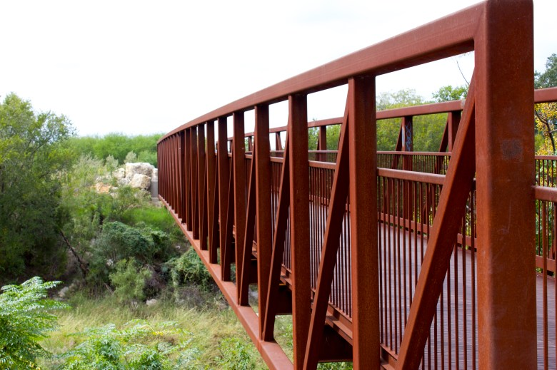 A colorful bridge along the Leon Creek Greenway.