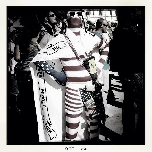 """""""Captain America"""" at the gun rally in Alamo Plaza. Photo by Leslie Kelly."""