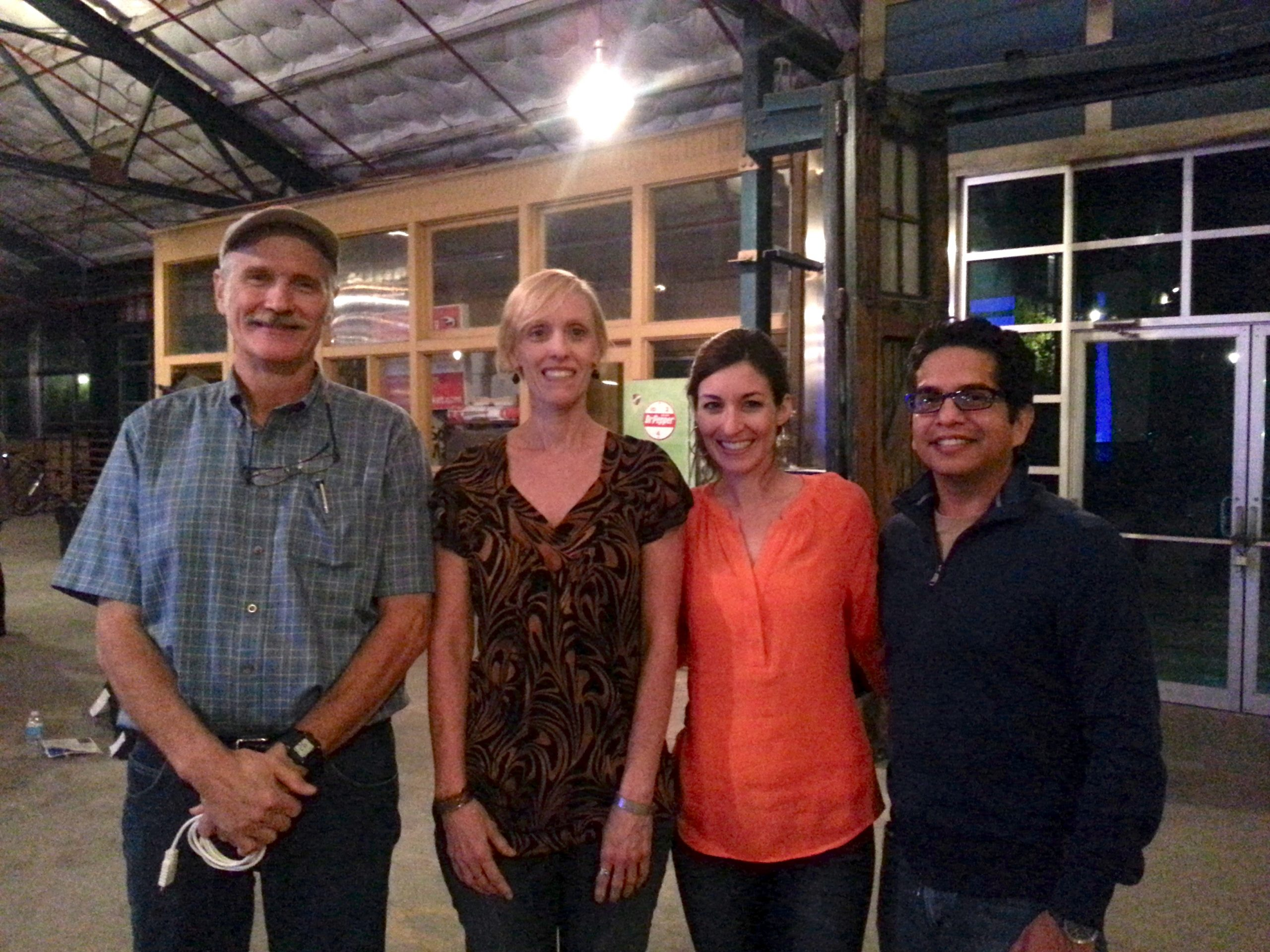 From left: Astronomer Bill Wren, Hill Country Alliance Intern Julie Cornelius, and AIA San Antonio COTE's Michelle and Carlos Cruz pose for a photo in the Cleary Zimmermann warehouse. Photo by Iris Dimmick.