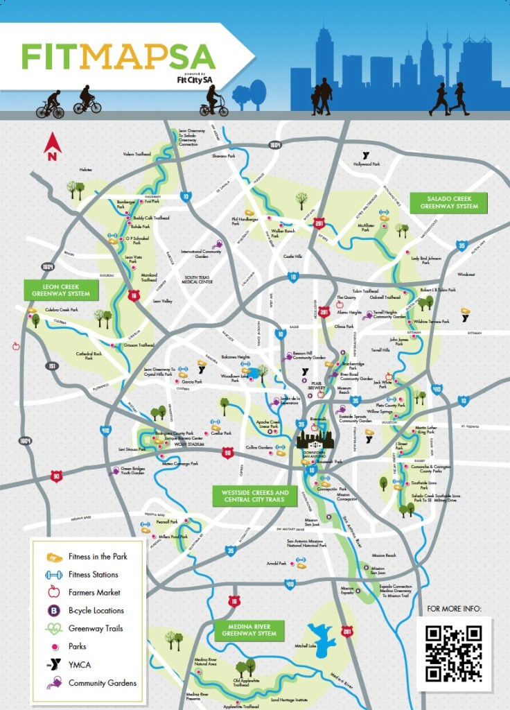 The San Antonio FitMap is available at area YMCAs, local libraries, and parks and recreation community centers.