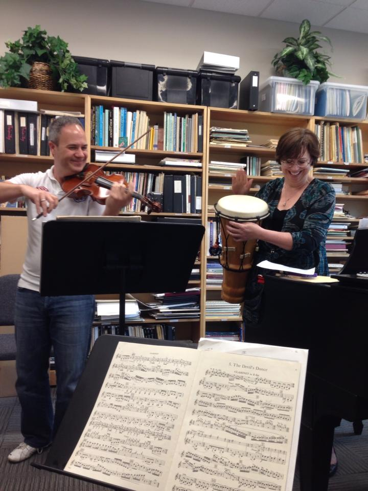 """Ertan Torgul and Carolyn True rehearsing George Antheil's """"crazy sonata"""" for a concert at The McNay Art Museum. Courtesy photo."""