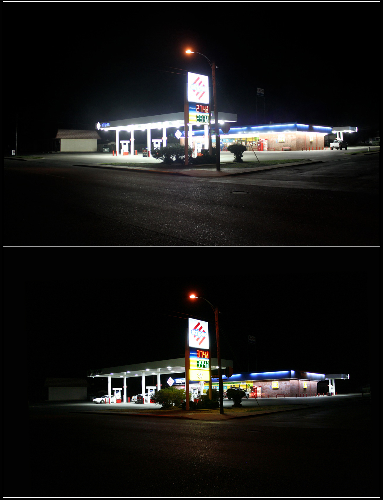 A Stripes gas station in Alpine, Texas that retrofitted its lights to comply with local ordinance. Photos courtesy of Bill Wren.