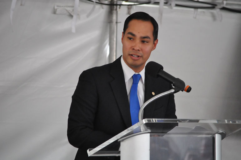 Mayor Julián Castro delivers remarks at the JFK memorial ceremony at Brooks City-Base. Photo by Annette Crawford.