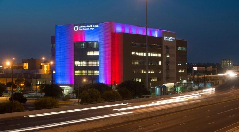 "Bill FitzGibbon's ""San Antonio Colorline,"" on the facade of the University Health Clinic off 35 South and I-10 in San Antonio."