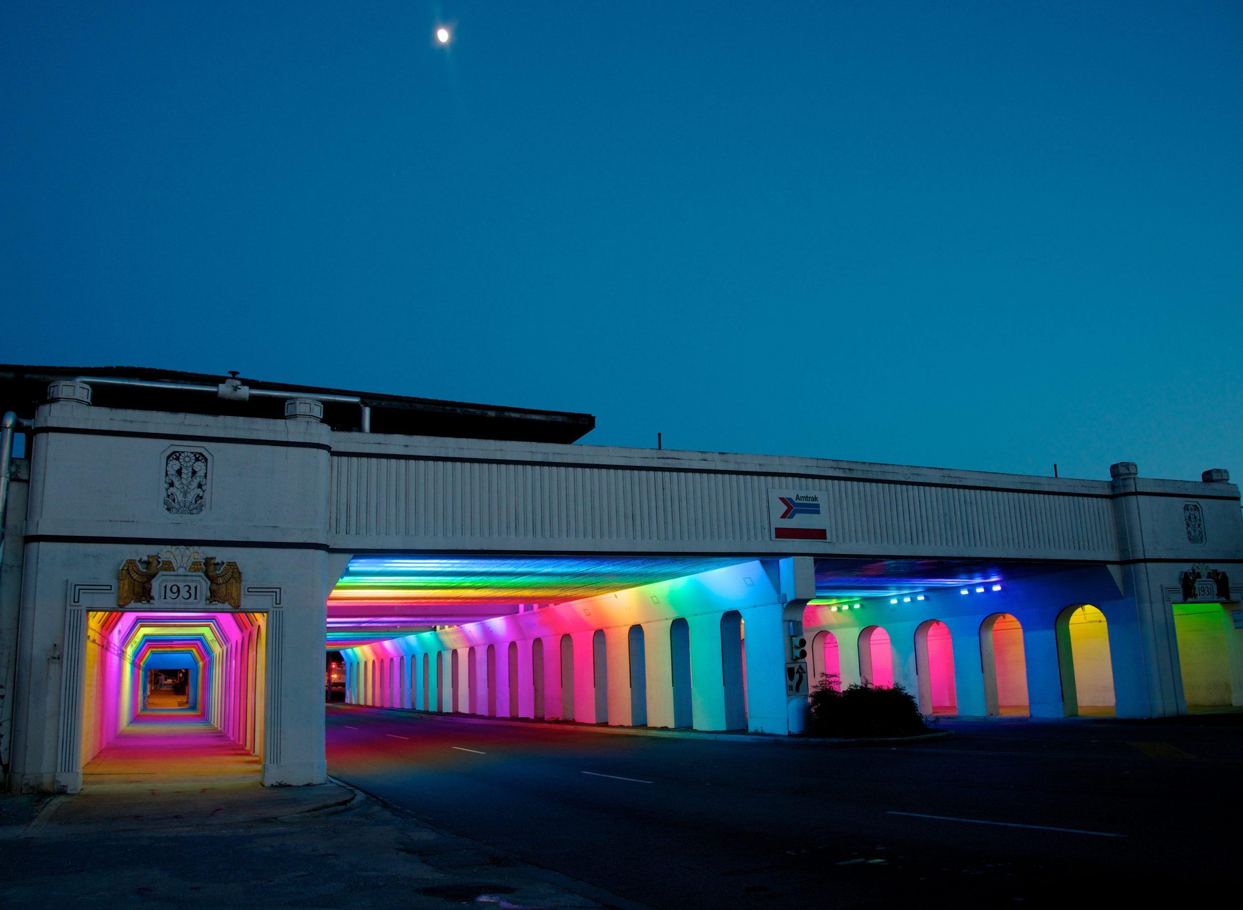 Light Rails - The 18th Street light installation in downtown, Birmingham by artist Bill FitzGibbons