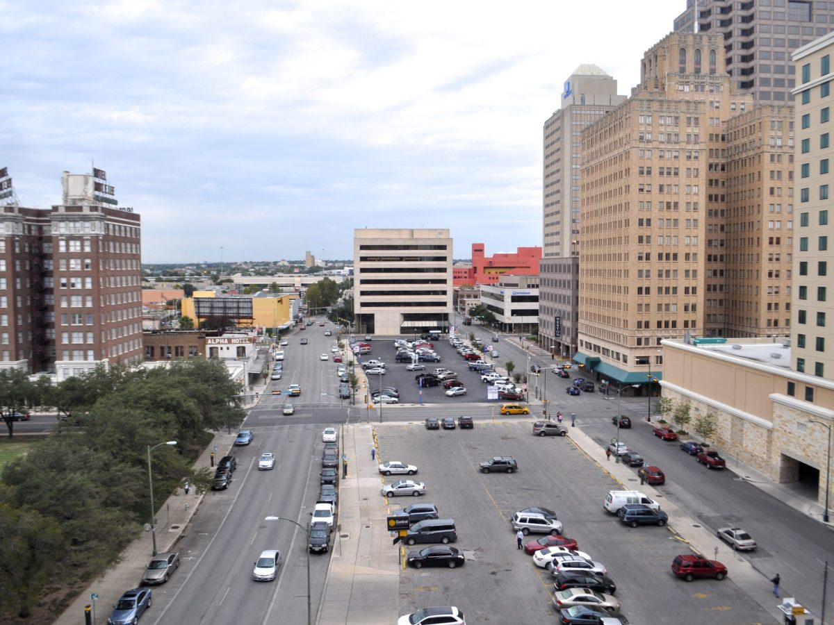 The northwest quadrant of downtown San Antonio and its lazy parking lots as seen from the Rand Building on Houston Street. Photo by Iris Dimmick.
