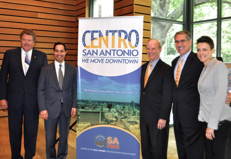Centro Board Chairman and Frost Bank SA President Don Frost, Mayor Juilán Castro, Bexar County Judge Nelson Wolff, Centro President and CEO Pat DiGiovanni, and SA2020 Chief of Engagement Molly Cox pose for a photo at the official announcement of Centro San Antonio's new brand. Photo by Iris Dimmick.