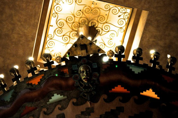 Detail of Aztec Theatre's Meso-American styled chandelier. Photo by Iris Dimmick.