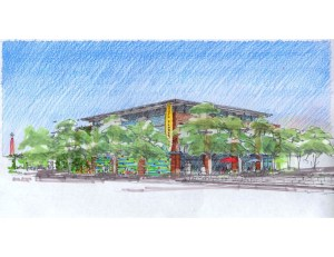 Rendering of the proposed H-E-B Flores Market (working title) courtesy of Lake/Flato Architects.