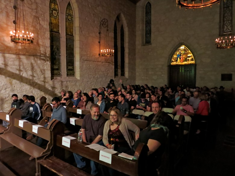PechaKucha attendees await the first presentation at the Coates Chapel. Photo by Miriam Sitz.