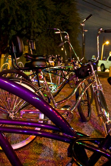 Some of the custom rides parked at La Tuna from yet another group of riders.