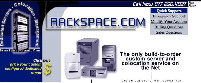 Rackspace vintage website Dec 1998