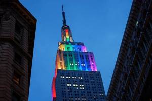 Empire State Building in New York City demonstrates its LGBT pride. Courtesy photo.