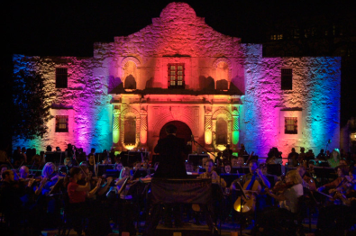 During the inaugural Luminaria art festival in 2008, Bill FitzGibbon's Alamo Lights was the first artistic lighting of the historic Alamo cathedral. It was a collaborative performance with the San Antonio Symphony. Commissioned by the City of San Antonio and the Daughters of the Republic. Photo courtesy of Bill FitzGibbons.