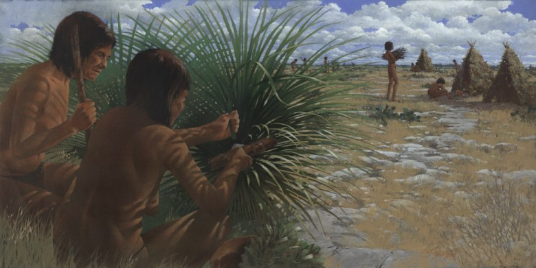 This painting by George Strickland is his reconstruction of an outdoor camp scene. In the foreground, two women cut and dig sotol. To the rear, children and old people bring firewood to the lodges. Small shelters constructed of sotol-stalk frames covered with mats, hides, and grass provided temporary shelter for open campsites across the region.
