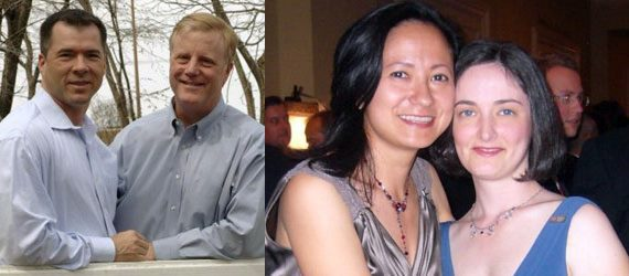 Victor Holmes and Mark Phariss of Plano, Texas (left) and Cleopatra De Leon and Nicole Dimetman of Austin (right). Courtesy photos.
