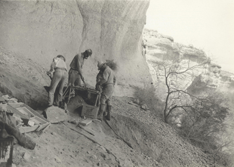 Left to right, Nolan Lassister, Guy Skiles, Harding Black, and Edward Richey at Eagle Cave in March 1936 (photograph courtesy of Witte Museum Archives).