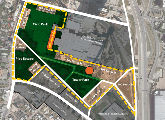 A rendering of Hemisfair's possible future. Areas shaded green indicates open park space. Image courtesy of HPARC.