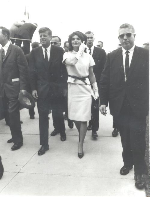 President John F. Kennedy and First Lady Jacqueline Kennedy walk through Brooks Air Force Base on Nov. 21, 1963. Photo Courtesy of Brooks City Base.
